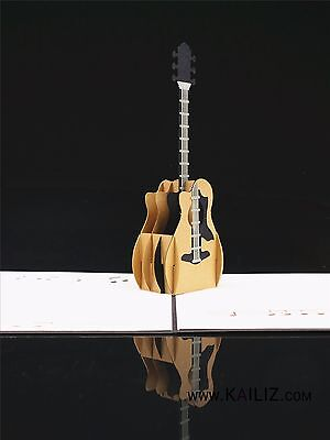 KAILIZ NEW Design Guitar 3D Pop Up Birthday Greeting Card Guitar Gifts UK STOCK