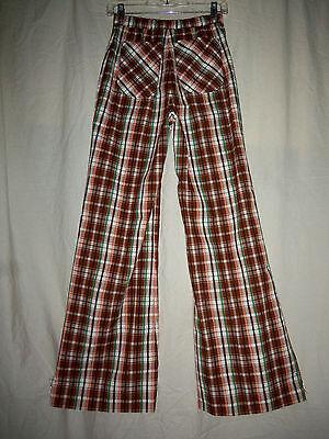 VTG 70s W25 Brown Plaid High Waist Bell Bottom Flare Pants S XS Hippie Boho