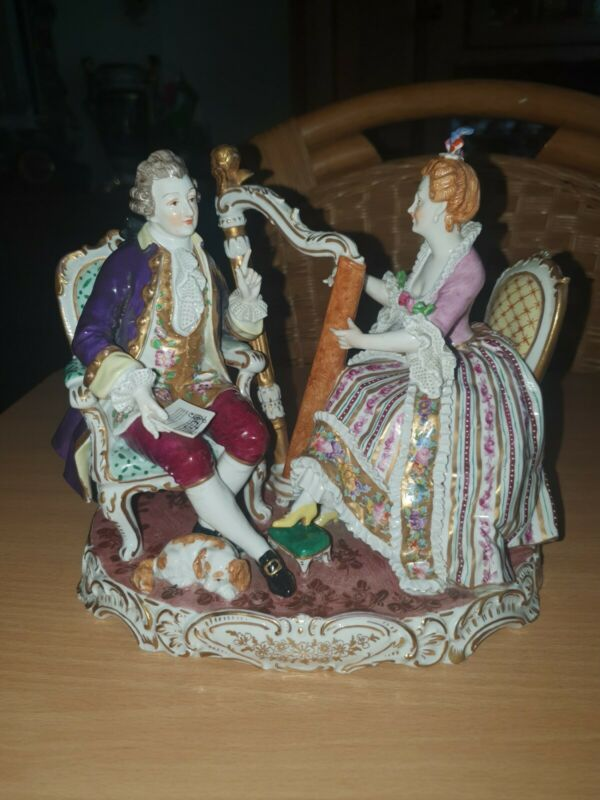 Antique German Viennese Lace Porcelain group
