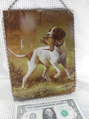 """Antique Flue Cover POINTER HUNTING DOG w BIRD in Mouth 7 x 9"""" CHAIN FRAME"""
