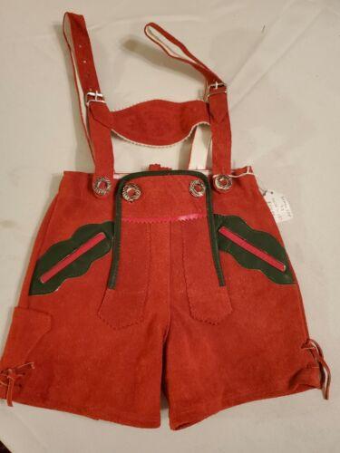 "US 2T, Waist 19"",Baby, Kids,Toddler,Germany,Trachten,Lederhosen Suspenders.RED"