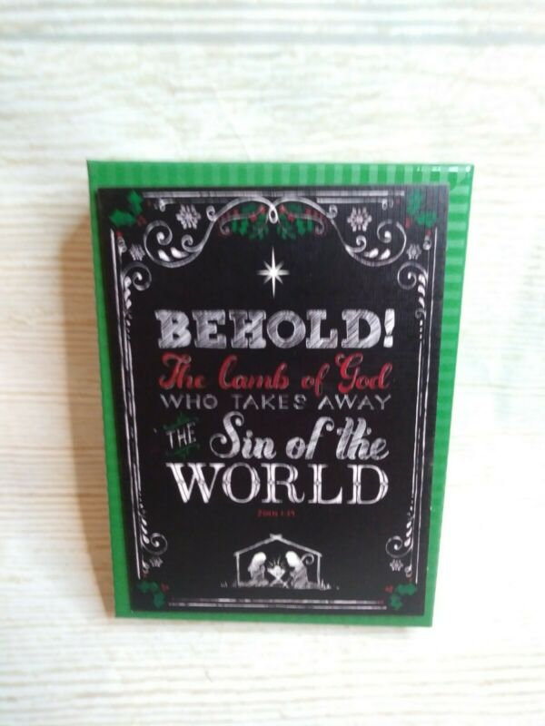 """New! """"Behold the Lamb of GOD"""" Religious Box of 20 Chalkboard Christmas Cards"""