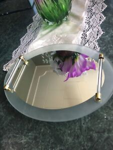 Oval Frosted Glass and Mirror Tray