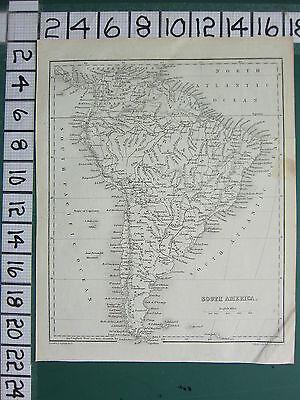 c1840 VICTORIAN MAP ~ SOUTH AMERICA ~ BRAZIL PERU ARGENTINA CHILE BOLIVIA