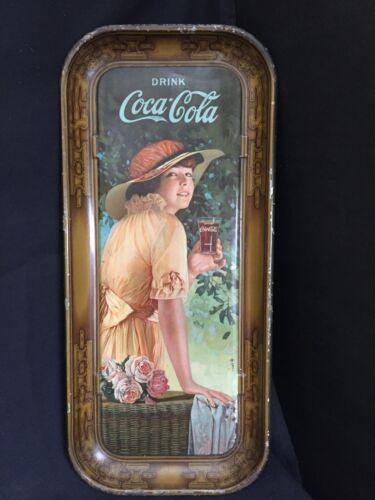 Original Antique 1916 Coca Cola Tray Elaine Girl With Flower Basket WW1