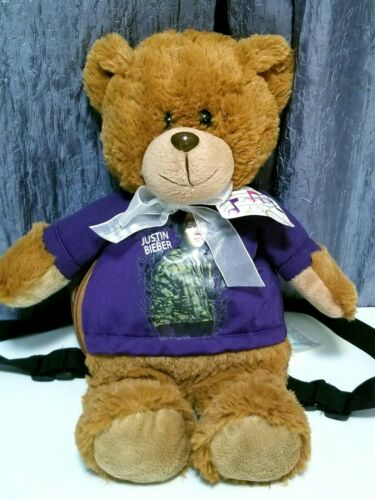 Justin Bieber Plush Teddy Bear Backpack W/Tags 16""