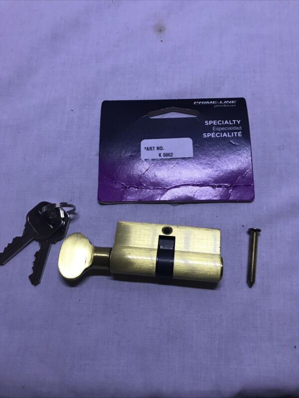 Prime-Line Products K 5062 Key Cylinder w/Thumbturn Solid Brass Construction ...