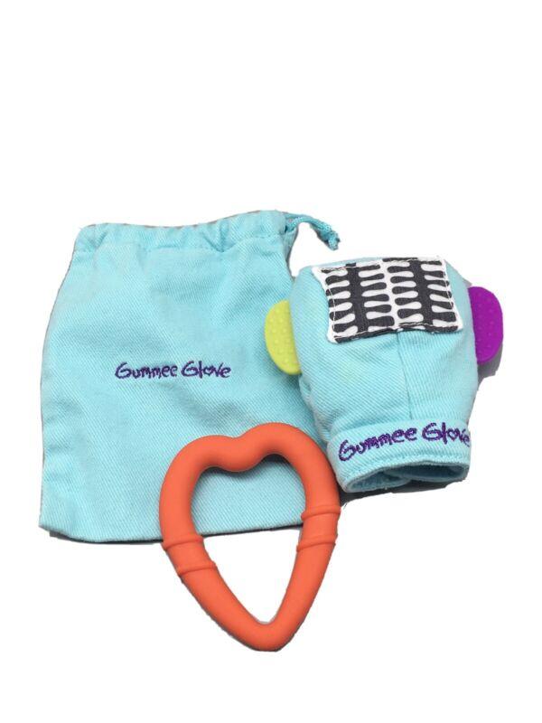 Gummee Glove Plus Teething Mitten (Turquoise) Food Grade Silicone. EUC