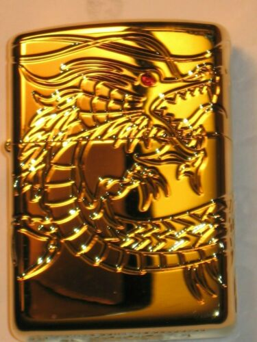 NEW Windproof ZIPPO US Lighter 29265 Red Eyed Chinese Dragon Gold Plated HP Case