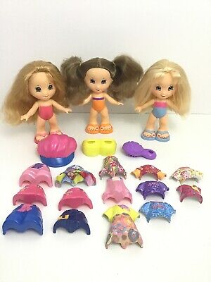 Fisher Price Snap N Style 3 Dolls 20 pc Lot With Clothes Shoes Hats ZZ