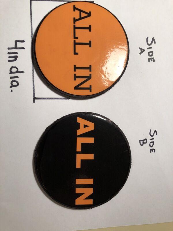 Orange & Black round All In Button for Texas Holdem Poker .