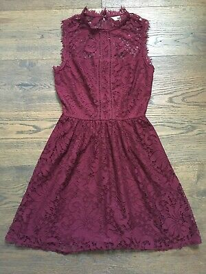 - Speechless Women's Maroon High Neck Lace Dress W/ Illusion Bodice (Junior's) XS