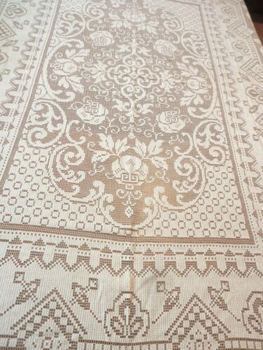 """Vintage Tablecloth Cotton Lace Classic Design 83""""l x62""""w Tan / Taupe"""
