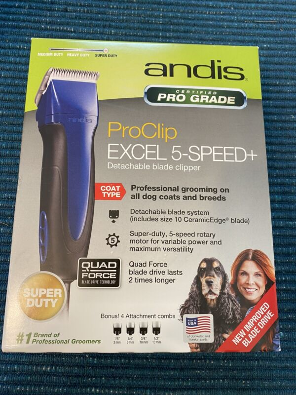 Andis ProClip Excel 5-Speed+ Detachable Blade Clipper - Blue - New With Box