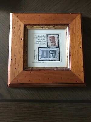 Stamp Art by Jack Rabbit Studio Inc JFK Framed 6x6. for sale  Shipping to Canada