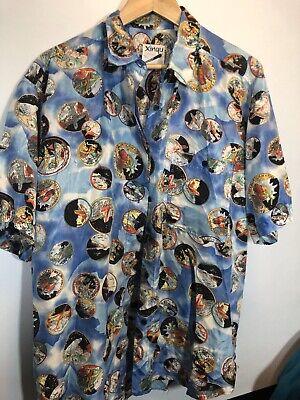 Aviation Space Rockets Shirt Silk Large Vintage Mens -