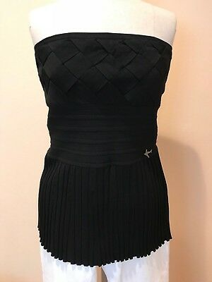 $2380 NWT Chanel 08C Cruise Black Strapless Pleated Top Bustier Airplane 44 FR