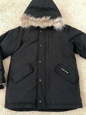 Canada goose Logan Parka with Fur Trim Hat size 14-16 Large Black