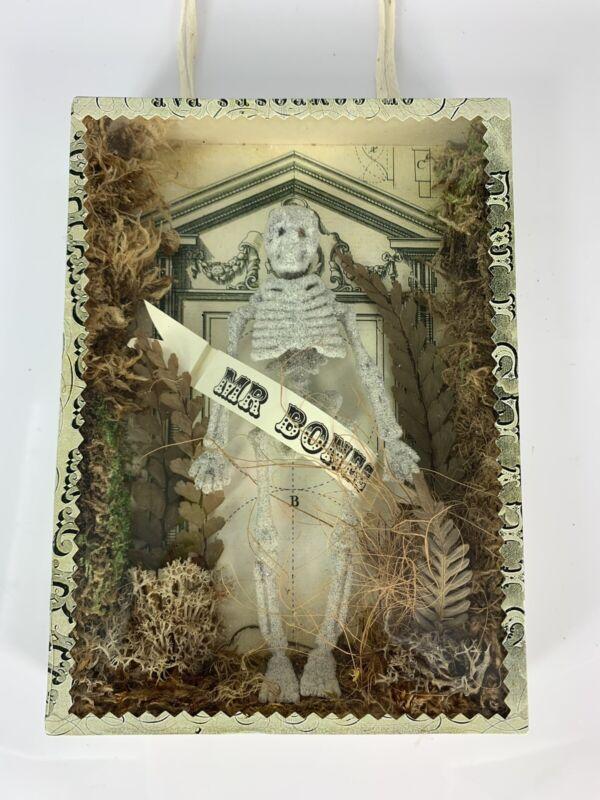 Wendy Addison Shadow Box With 'Mr. Bones' Skeleton, Halloween Decoration