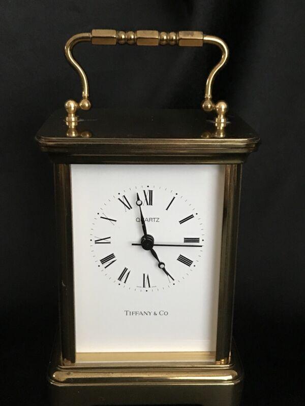 Vintage 1989 ~ TIFFANY & CO. Swiss Made Brass/Quartz Desk Carriage Clock~Working