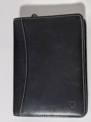 Franklin Covey Compact Leather Planner Organizer Co-5044 6 Rg Black W White