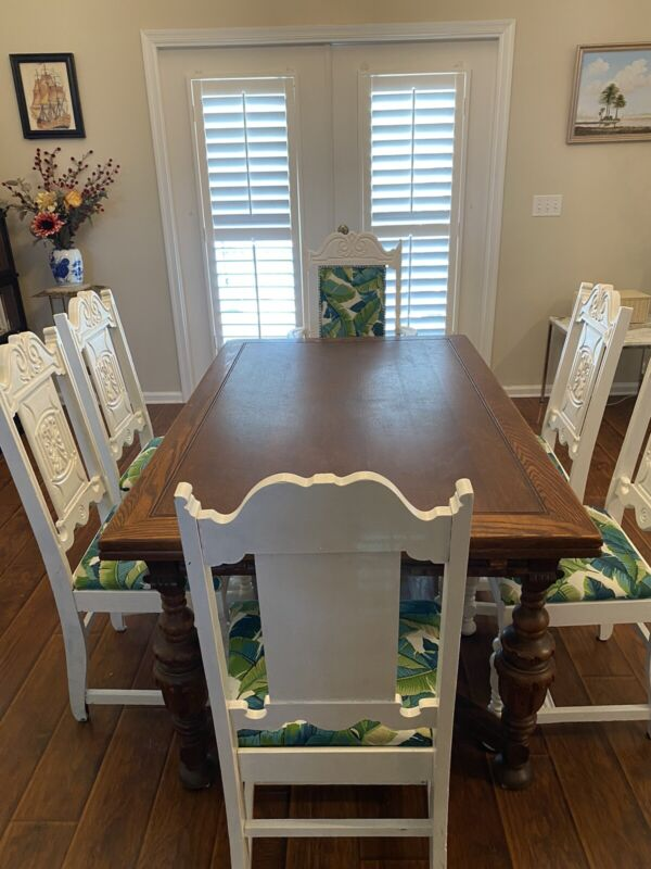 Jacobean Expandable Wood Dining Table & 6 Chairs Custom Tble pads made in Italy