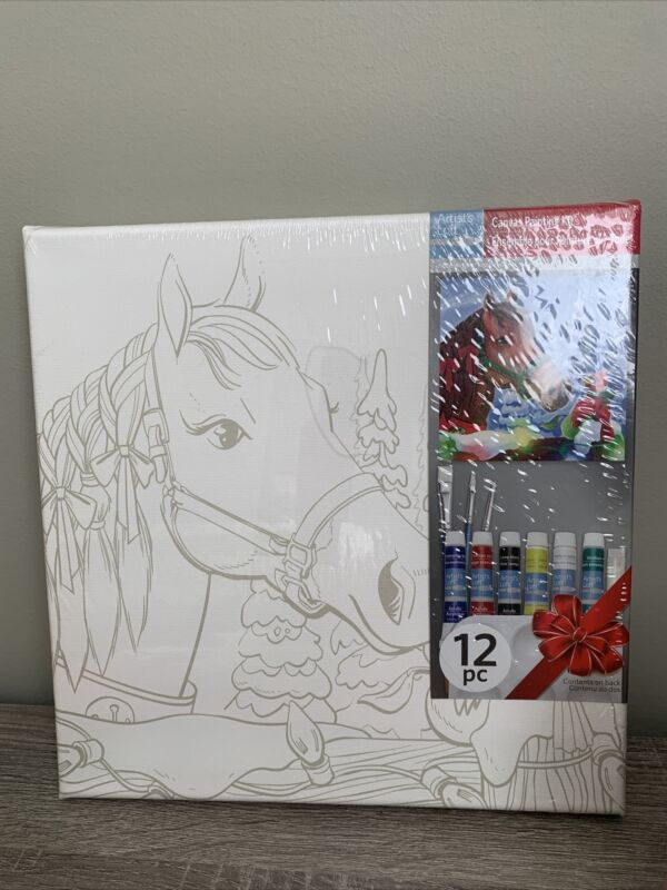 artist loft Christmas canvas painting kit 12 Pc. Horse