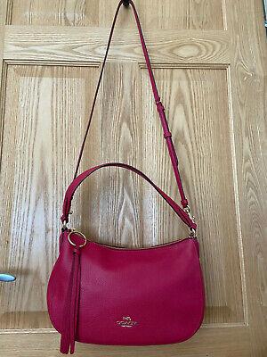 Brand New Coach Sutton Leather Shoulder Crossbody Bag, Bright Cherry