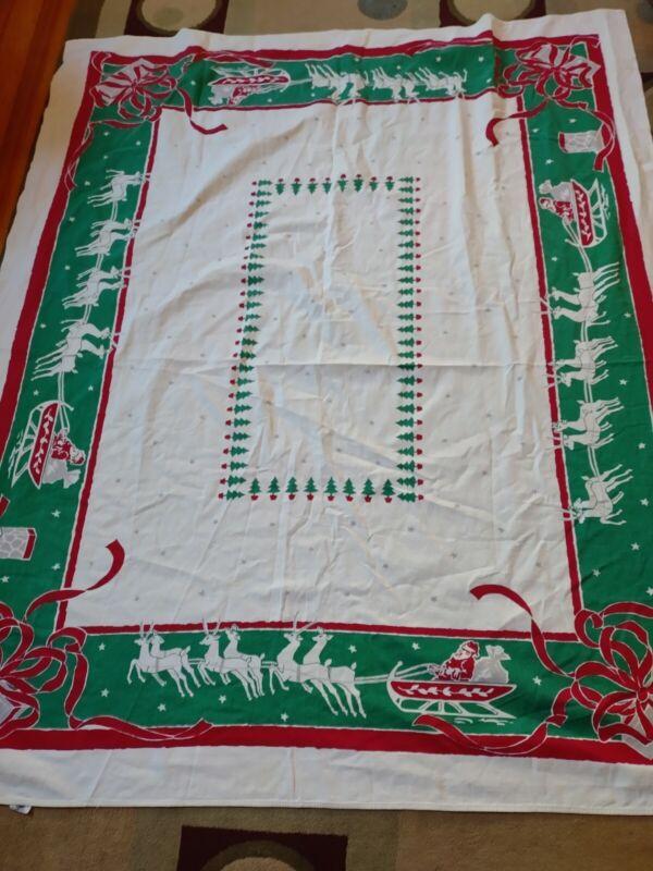 "Vintage Startex Starmont Cloth Cotton Santa With Reindeer Tablecloth 54"" x 62"""