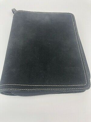 Franklin Covey Black Cow Suede Leather 6 Ring 1 Binder Planner