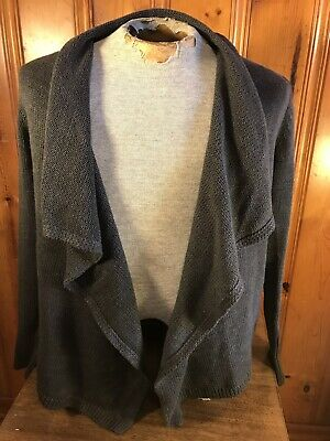 Gap Open Front Cardigan Sweater Gray Ribbed Women's Medium Cotton Blend L/S