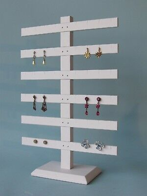 6 Tier 15h X 10w White Leatheret 24 Pairs Earring Jewelry Display Stand 252-6w