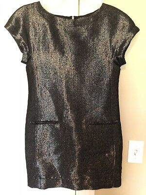 Theory Size 0 Black Shift Dress Shimmery Short Sleeve Cocktail Mini Wool Blend