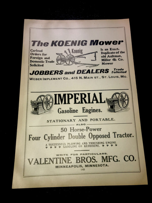 1908 Valentine Bros. Koenig Mower Imperial Engine Farm Advertising - Minneapolis