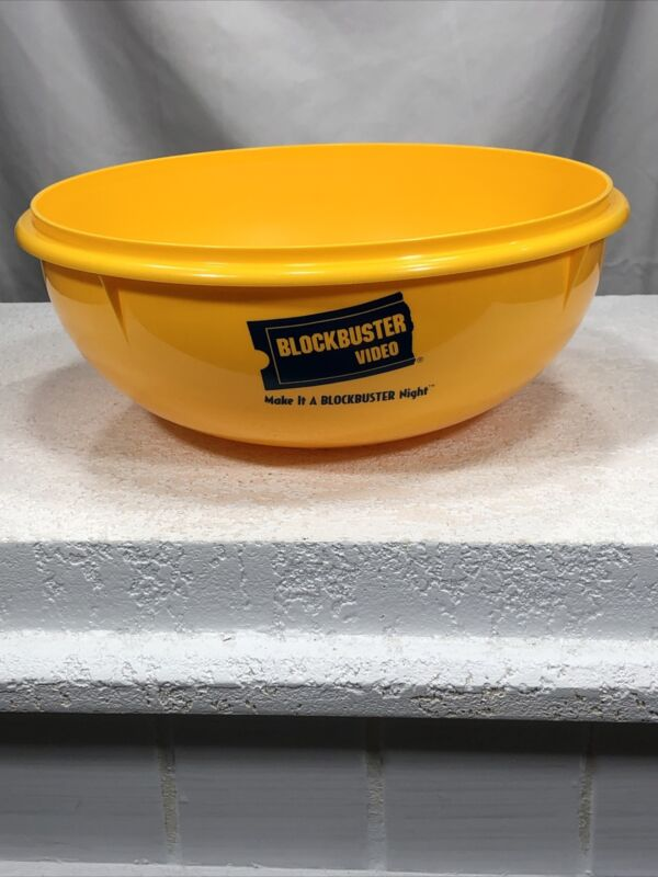 Tupperware Blockbuster Video Bowl Yellow 26 Cup Popcorn Vintage 1990