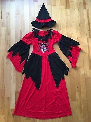 Hexe Hexen Kostüm Kleid Hut Rot Schwarz Fasching Karneval Mädchen Kinder 7-10 - Mädchen Hexe Kostüm Schwarz
