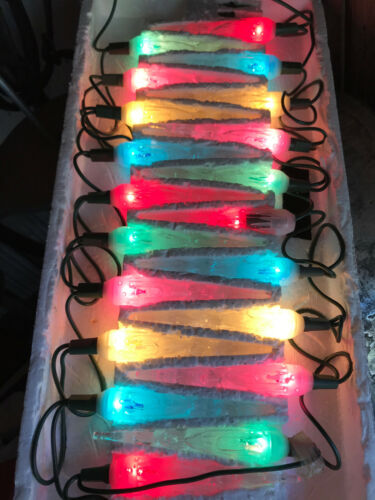 VTG CHRISTMAS 20 LIGHT ICICLE SET MULTI-COLOR LOW ENERGY USER WORKS GREAT