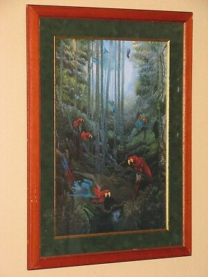 Shirley Moore Leago Red And Green Macaw Limited Edition Signed - Green Macaws Framed