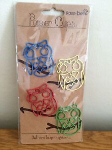 Owl shaped Novelty Paperclips: 4 Large Coloured Paper clips by Sass & Belle