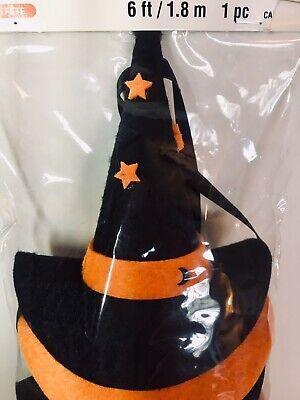 HALLOWEEN FELT WITCH HATS GARLAND ORANGE BLACK STARS 6 FT.