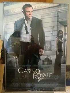 Signed by cast movie poster Casino Royale James Bond Daniel Craig