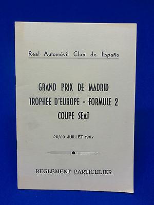 547) Reglement Particulier Grand prix de Madrid 1967 Formule 2 Coupe Seat