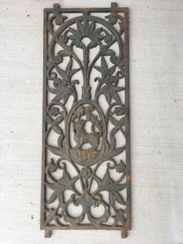 Antique Victorian cast iron window grill Floral motif with Guardian Lion center