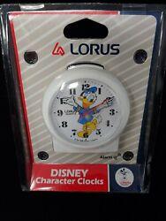 Vintage Disney Lorus Quartz Alarm clock Donald duck White  Hong Kong - NEW
