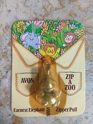 Vintage 1983 Avon Zip A Zoo Earnest Elephant Zipper Pull Factory Sealed - Earnest Elephant