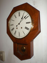 Emperor Schoolhouse Regulator 8 Day Wall Clock Cherry Key Wound Hermle