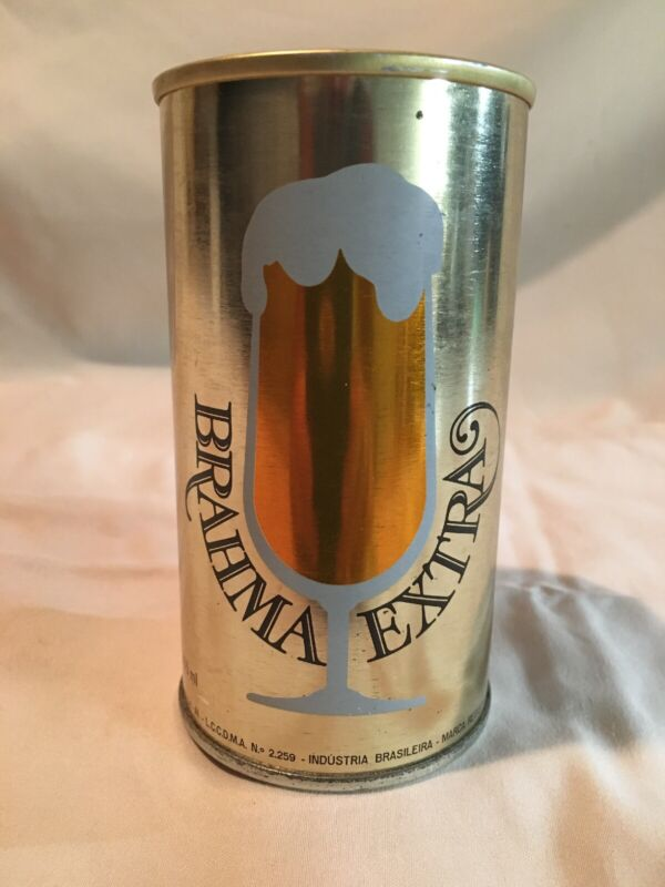 Vintage Brahma Extra Beer Can Brazil Straight Side & Bottom Opened 355ml! WOW