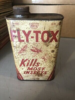 Vintage Advertising Tin Fly-Tox Insect Bug Killer Spray Liquid Repellents