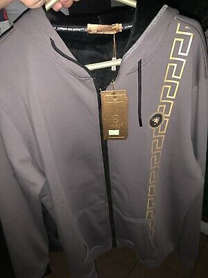 Versace Lion Head Greek Key Resembled Moderno Full Zip Grey Hoodie L