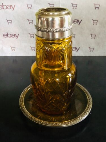 Antique German 800 Sterling Silver Amber Cut Glass Tumble Up Decanter Set